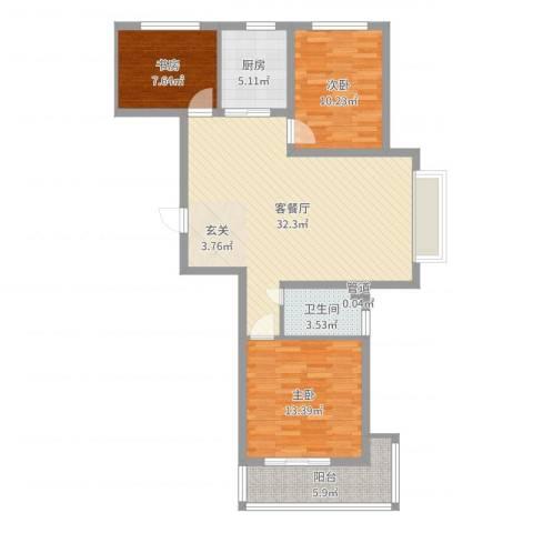 丽景华苑3室2厅1卫1厨98.00㎡户型图