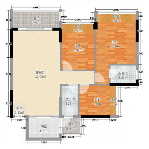 海港城3室2厅2卫1厨99.00㎡户型图