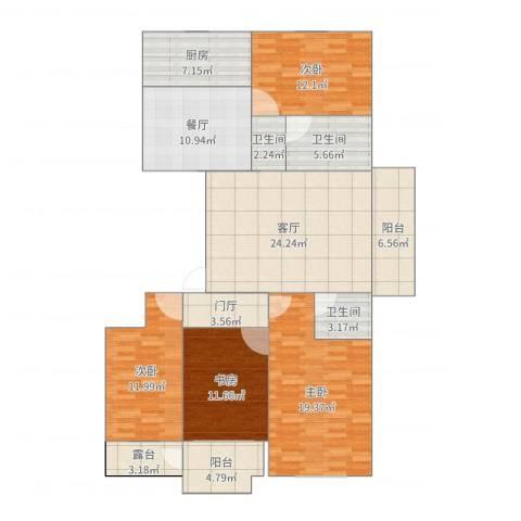 晨阳庄园小区4室2厅3卫1厨158.00㎡户型图
