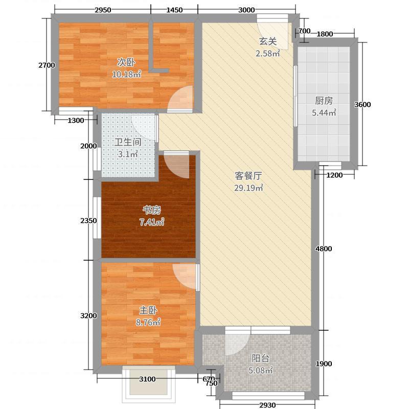 美联联邦生活区二期城仕96.52㎡k-7-1号楼C户型3室3厅1卫1厨