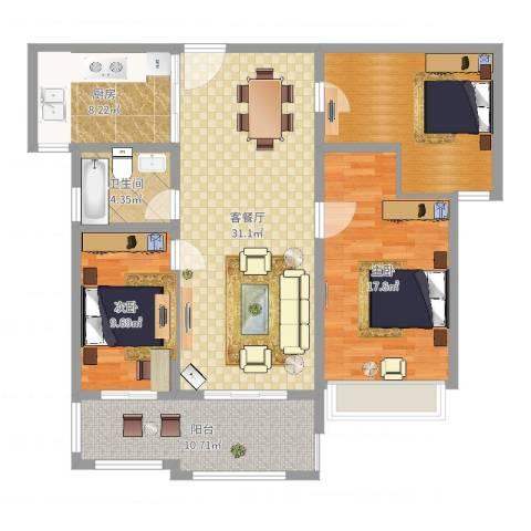喜利达名苑2室2厅1卫1厨119.00㎡户型图