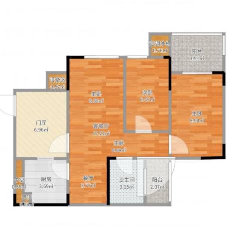 融科海阔天空2室2厅1卫1厨68.00㎡户型图