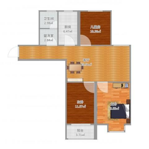 东方体育城北区3室3厅1卫1厨103.00㎡户型图