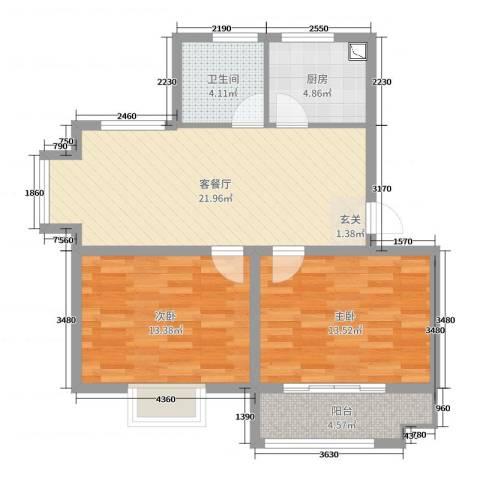 太和名苑2室2厅1卫1厨78.00㎡户型图