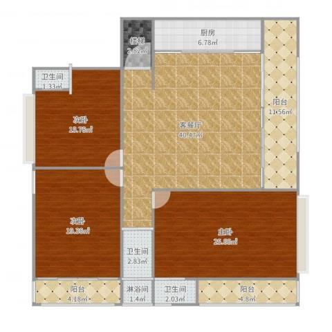自建房3室2厅5卫1厨174.00㎡户型图