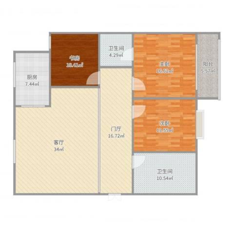 纺织苑3室1厅2卫1厨149.00㎡户型图