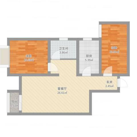 英伦假日2室2厅1卫1厨73.00㎡户型图