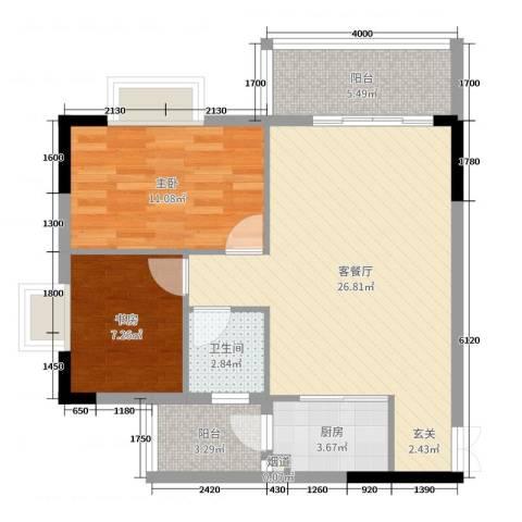 景新豪苑2室2厅1卫1厨75.00㎡户型图
