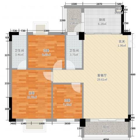 景新豪苑3室2厅2卫1厨79.26㎡户型图