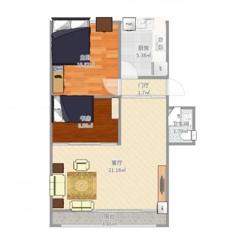 顺义义宾南区2室1厅1卫1厨63.00㎡户型图