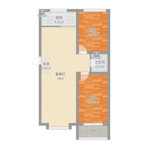 东上金地2室2厅1卫1厨85.00㎡户型图