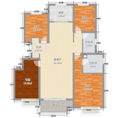 华润・仰山云栖径4室2厅2卫1厨140.00㎡户型图