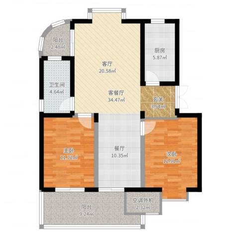 放鹤洲花园2室2厅1卫1厨105.00㎡户型图