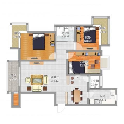 上海新城2室2厅4卫3厨125.00㎡户型图