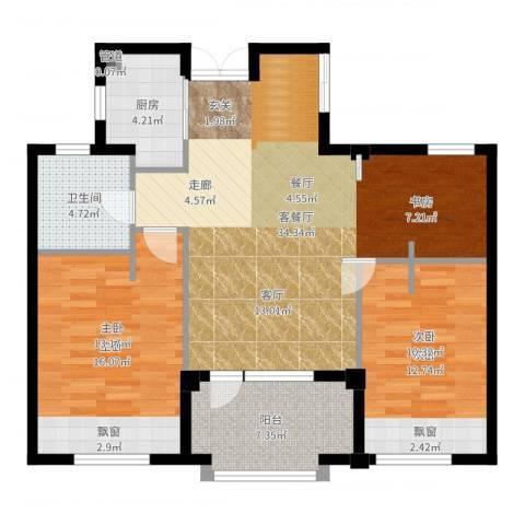 郡原九润公寓2室2厅1卫1厨99.00㎡户型图