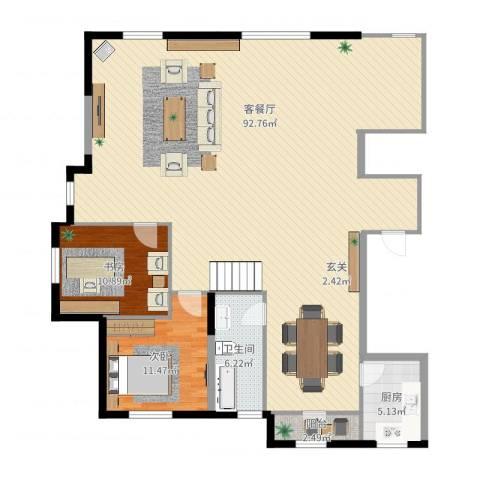 水榭花都2室2厅1卫1厨161.00㎡户型图