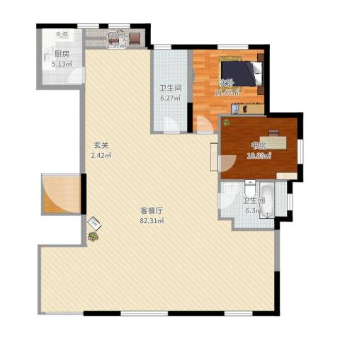 水榭花都2室2厅2卫1厨160.00㎡户型图
