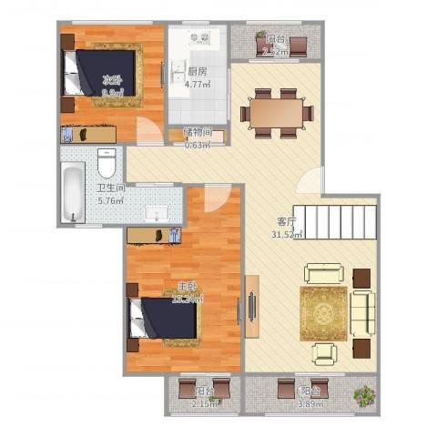 叠翠苑2室1厅1卫1厨95.00㎡户型图