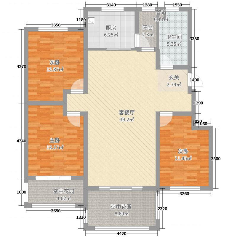 御泉香墅130.00㎡六层电梯洋房D户型3室3厅1卫1厨