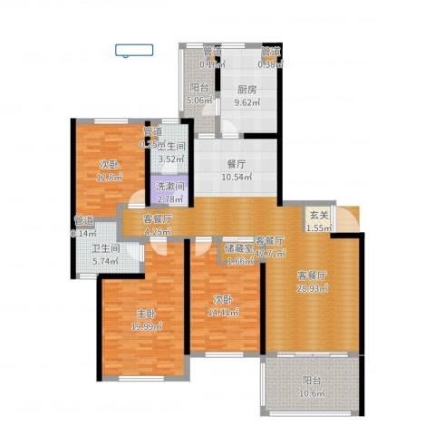 南通运杰龙馨园3室2厅2卫1厨168.00㎡户型图
