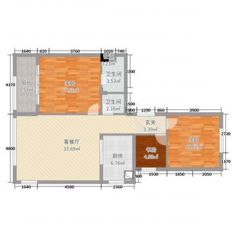华鸿・温州大公馆3室2厅2卫1厨110.00㎡户型图