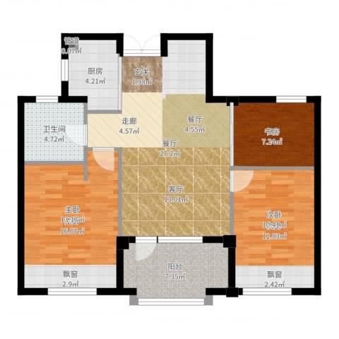 郡原九润公寓2室1厅1卫1厨99.00㎡户型图
