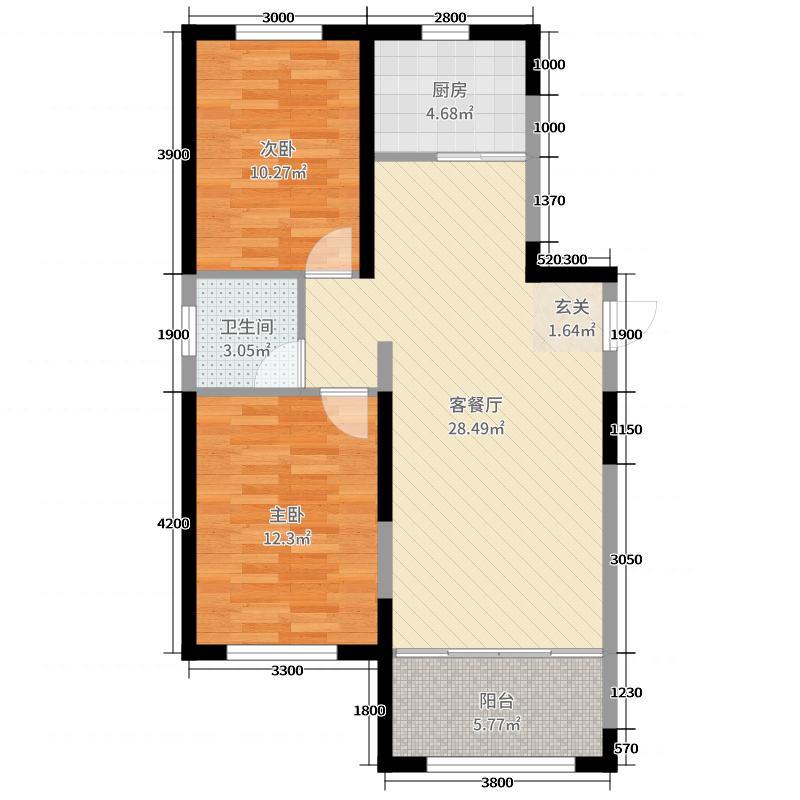 佳水豪庭85.03㎡D1户型2室2厅1卫1厨