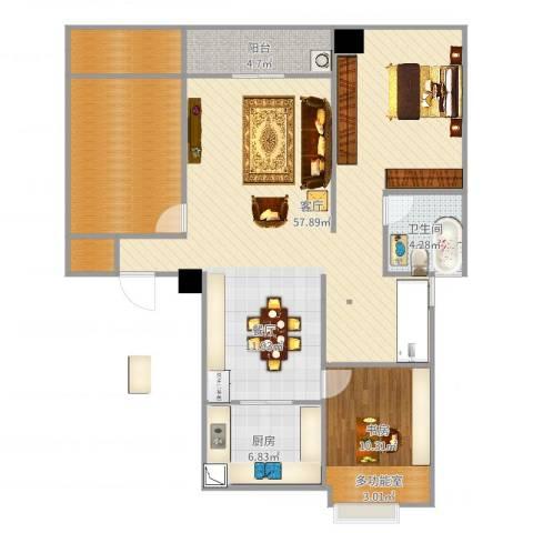 罗蒙环球城1室1厅1卫1厨127.00㎡户型图