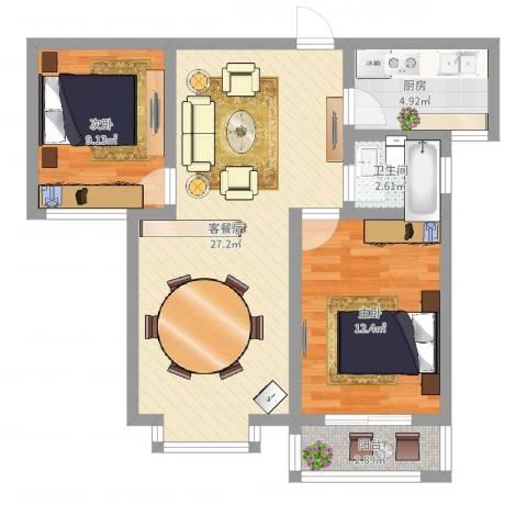东方世纪城2室2厅1卫1厨86.00㎡户型图