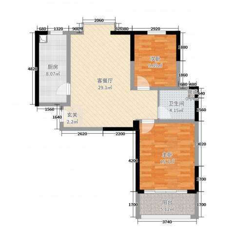德洋国际广场2室2厅1卫1厨90.00㎡户型图