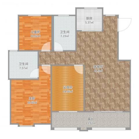 悦达悦珑湾2室2厅2卫1厨146.00㎡户型图