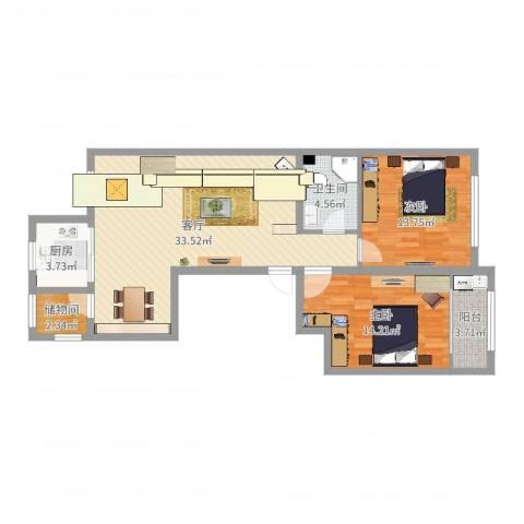 高新城市广场2室1厅1卫1厨95.00㎡户型图