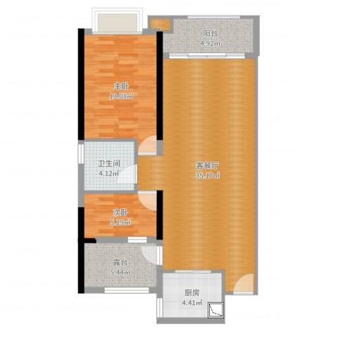东莞厚街万达广场2室2厅1卫1厨91.00㎡户型图