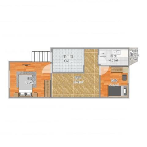 锦华中园2室1厅1卫1厨53.00㎡户型图