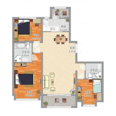 容辰庄园东区3室2厅2卫1厨141.00㎡户型图
