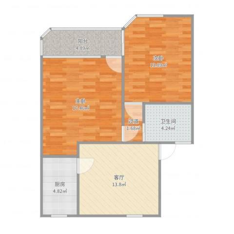古桐公寓2室1厅1卫1厨76.00㎡户型图