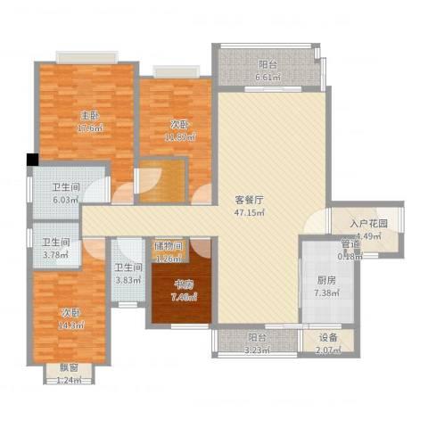 仁恒滨海半岛4室2厅3卫1厨176.00㎡户型图