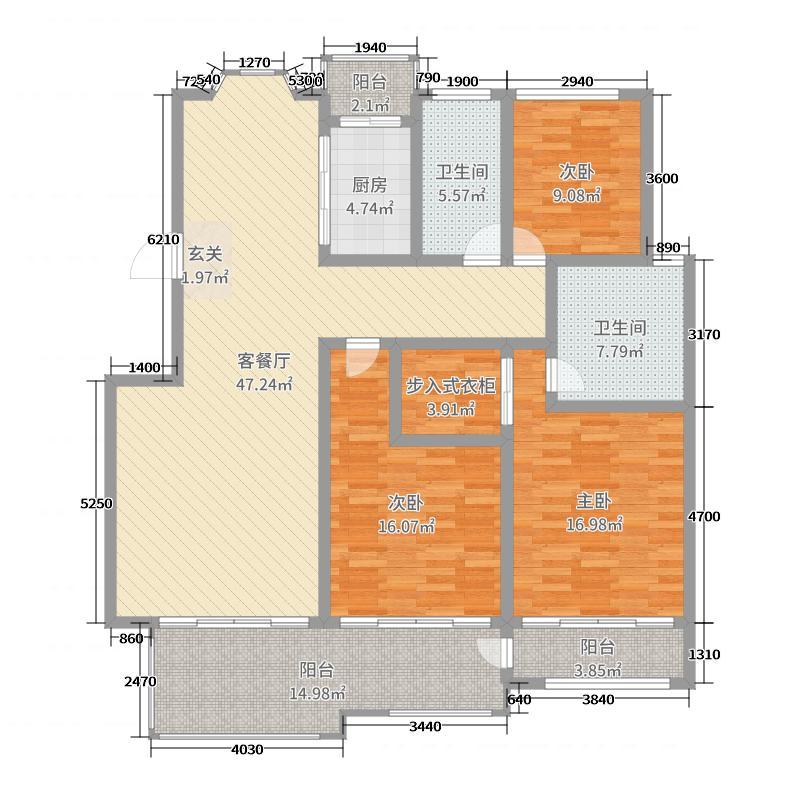 林溪小镇165.34㎡E户型3室3厅2卫1厨