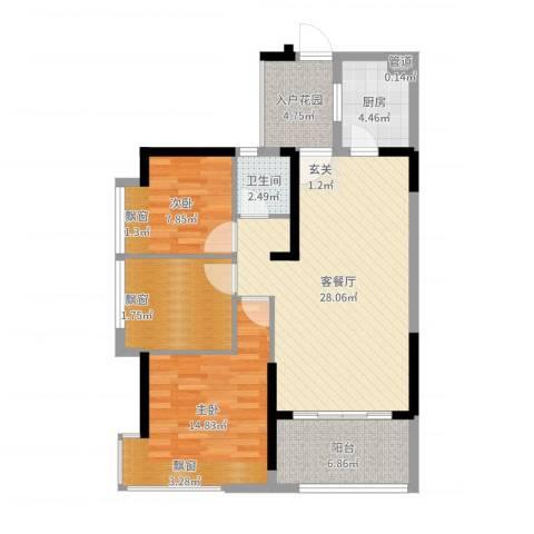 藏珑湖上国际社区2室2厅1卫1厨97.00㎡户型图