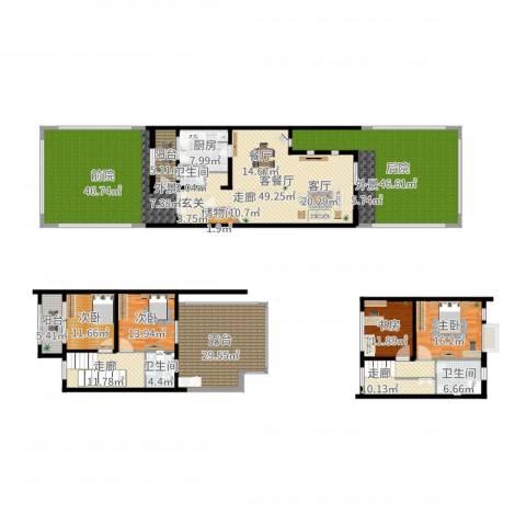 张江汤臣豪园别墅4室2厅3卫1厨352.00㎡户型图
