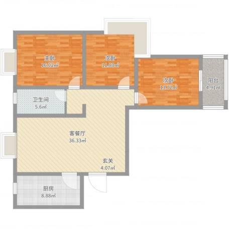 怡美家园3室2厅1卫1厨122.00㎡户型图