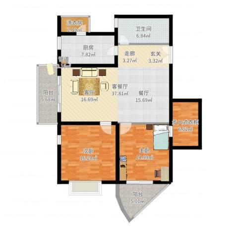 新兴翰园2室2厅1卫1厨102.76㎡户型图