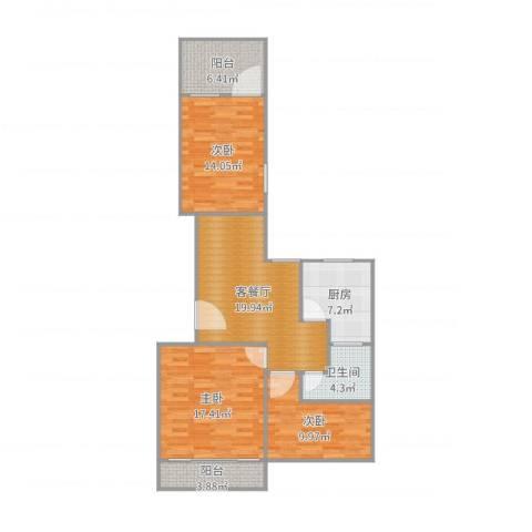 石亭小区3室2厅1卫1厨104.00㎡户型图