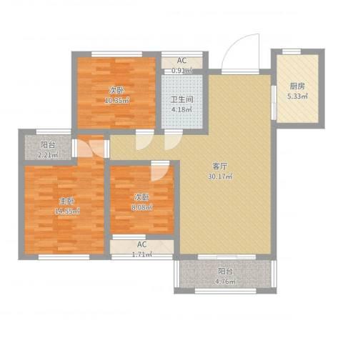 爱伦坡3室1厅1卫1厨82.23㎡户型图
