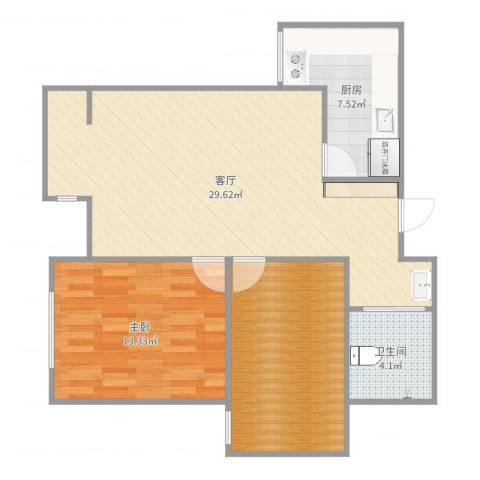 天房美域1室1厅1卫1厨83.00㎡户型图