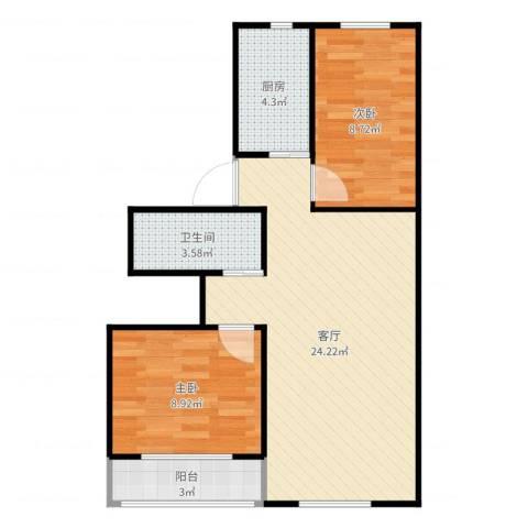 安慧里四区2室1厅1卫1厨66.00㎡户型图