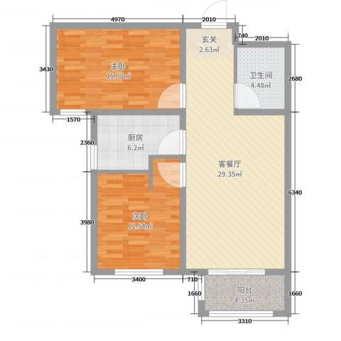 丽景福苑2室2厅1卫1厨90.00㎡户型图