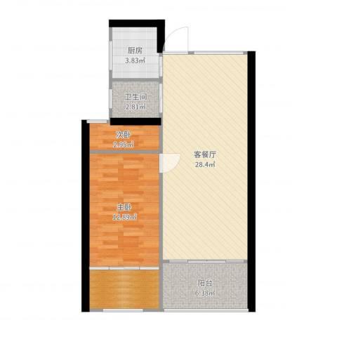 新城悠活城2室2厅1卫1厨77.00㎡户型图
