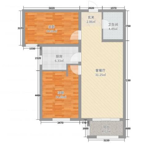 丽景福苑2室2厅1卫1厨93.00㎡户型图