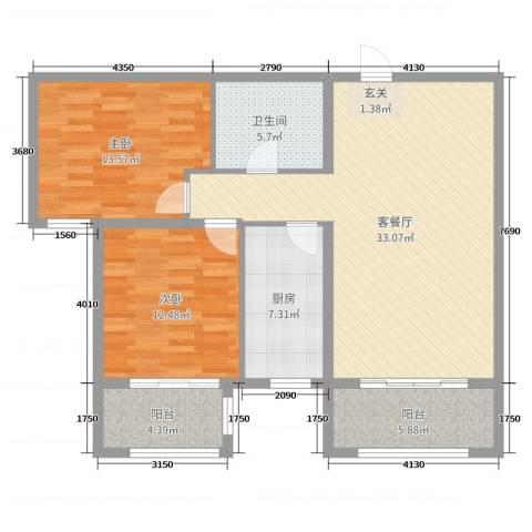 丽景福苑2室2厅1卫1厨103.00㎡户型图
